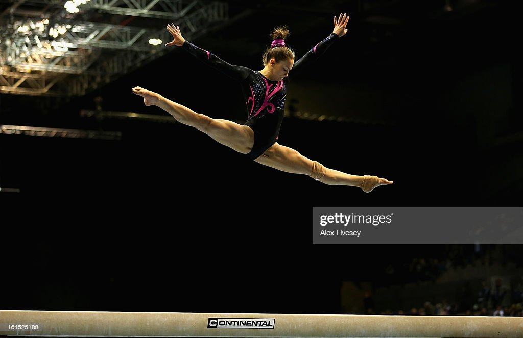 Iona Theobald of Horsham competes in the Beam in the Women's Senior Apparatus Finals during the Men's and Women's British Gymnastics Championships at the Echo Arena on March 24, 2013 in Liverpool, England.