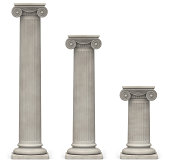 Three Ionic, stone columns of varying heights on a white background
