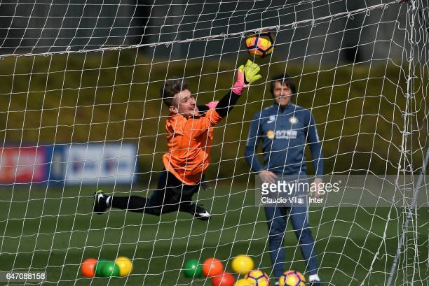 Ionut Radu of FC Internazionale in action during a FC Internazionale training session at Suning Training Center at Appiano Gentile on March 02 2017...