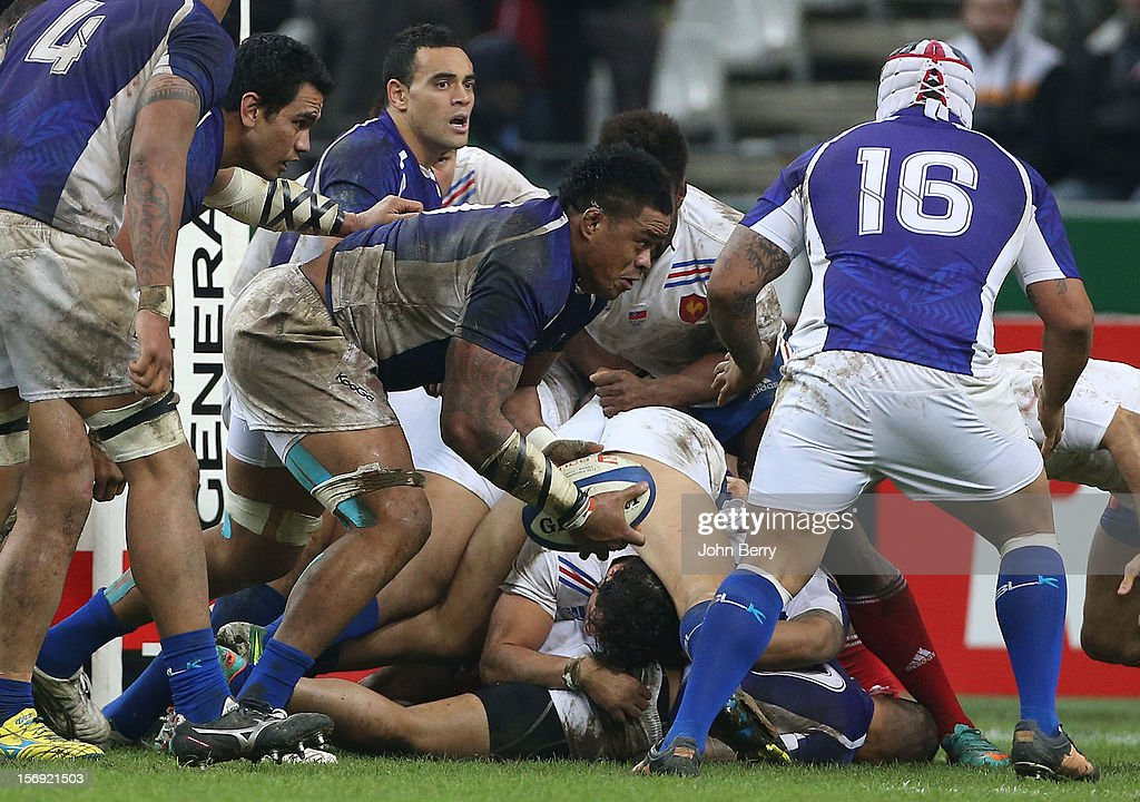Iosefa Tekori of Samoa in action during the Rugby Autumn International between France and Samoa at the Stade de France on November 24, 2012 in Paris, France.