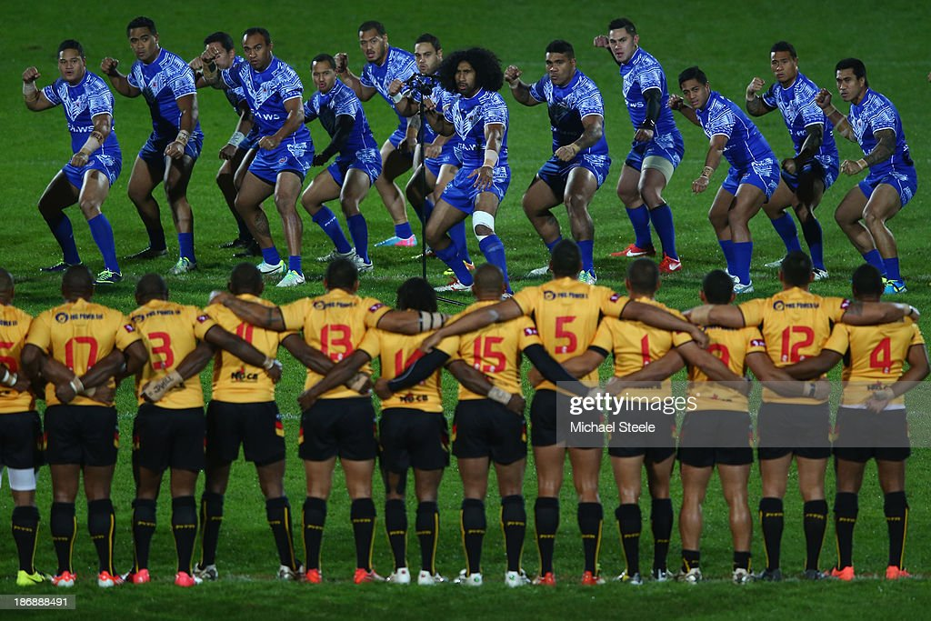 Iosia Soliola of Samoa leads the Haka during the Rugby League World Cup Group B match between Papua New Guinea and Samoa at Craven Park Stadium on...