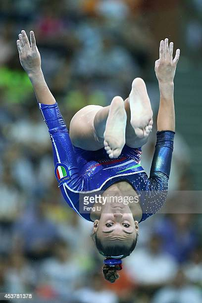 Iosra Abdelaziz of Italy competes in the Women's Artistic Gymnastics Qualification on day two of Nanjing 2014 Summer Youth Olympic Games at Nanjing...