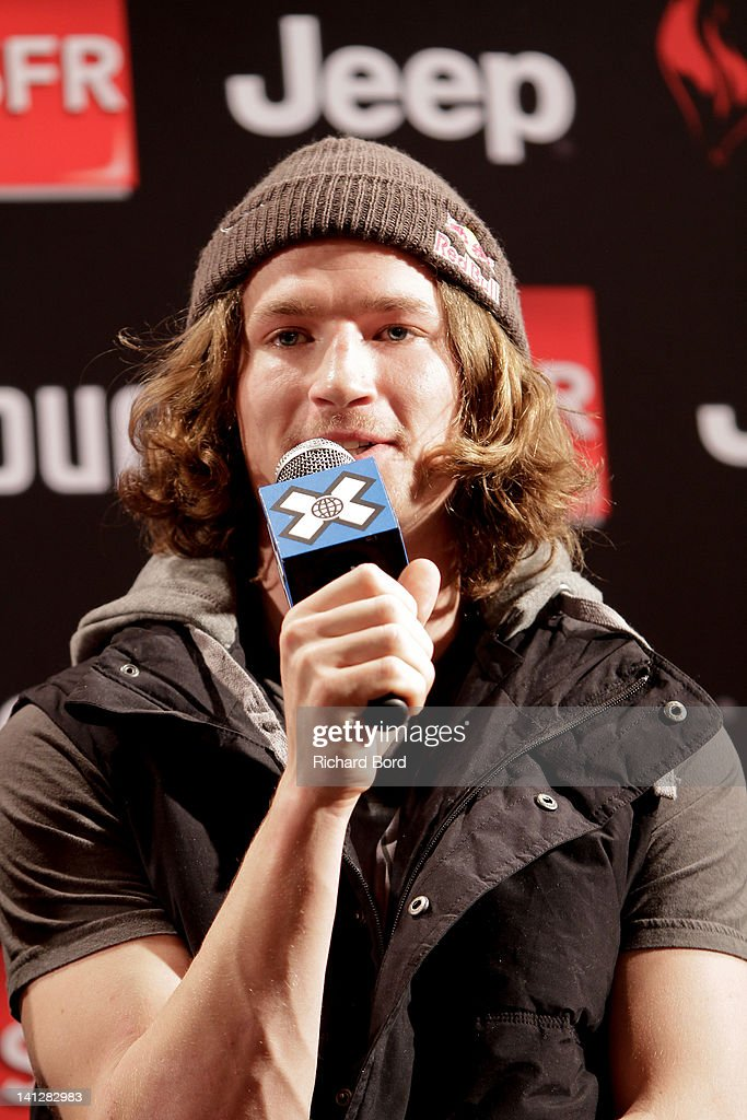 Iouri Podladtchikov speaks during a press conference at Hotel Diva on March 13, 2012 in Tignes, France.
