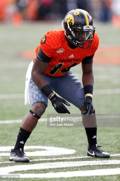 Iowa Cornerback Desmond King of the North Team during the 2017 Resse's Senior Bowl at LaddPeebles Stadium on January 28 2017 in Mobile Alabama The...