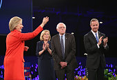 Iowa Democratic Party Chair Andy McGuire introduces Democratic presidential candidates Hillary Clinton Senator Bernie Sanders and Martin O'Malley at...