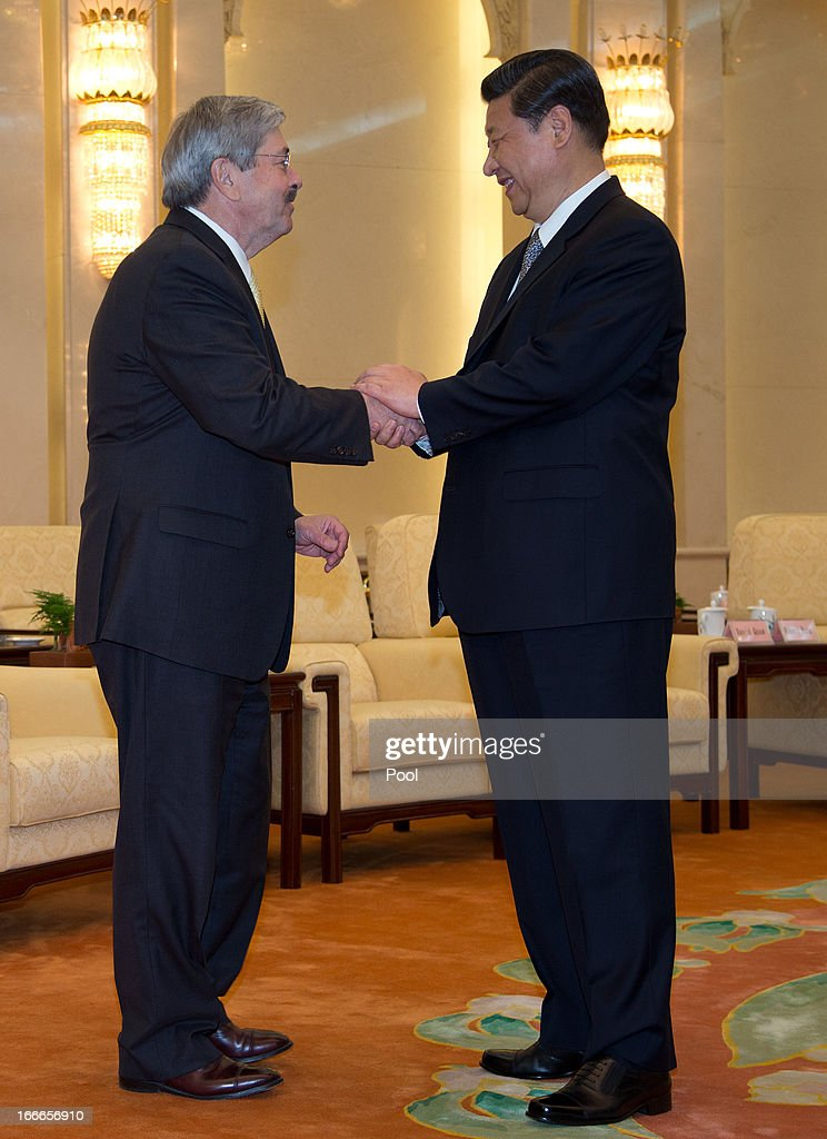 Iowa Gov. Terry Branstad is greeted by Chinese President <a gi-track='captionPersonalityLinkClicked' href=/galleries/search?phrase=Xi+Jinping&family=editorial&specificpeople=2598986 ng-click='$event.stopPropagation()'>Xi Jinping</a> before a meeting at the Great Hall of the People on April 15, 2013 in Beijing, China. Walker is in China to lead his first trade mission overseas and hopes to build a relationship with China to increase both imports and exports in the future. He along with other American governors will attend a National Governor's Association meeting.