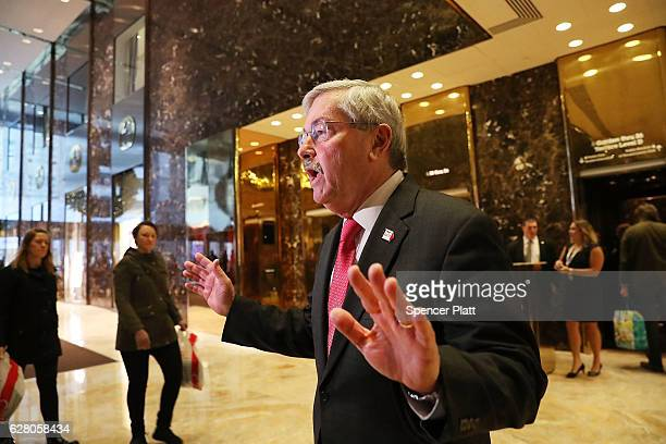 Iowa Gov Terry Branstad speaks with members of the media at Trump Tower following meetings on December 6 2016 in New York City Potential members of...