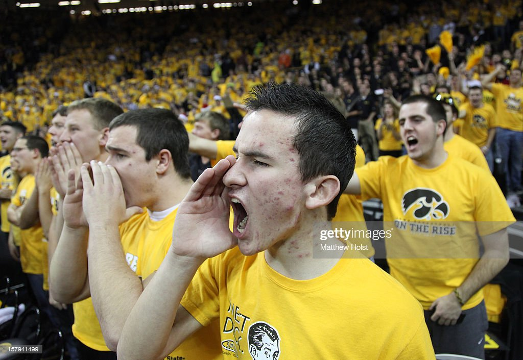 Iowa Hawkeyes fans cheer during the first half against the Iowa State Cyclones on December 7, 2012 at Carver-Hawkeye Arena in Iowa City, Iowa. Iowa defeated Iowa State 80-71.