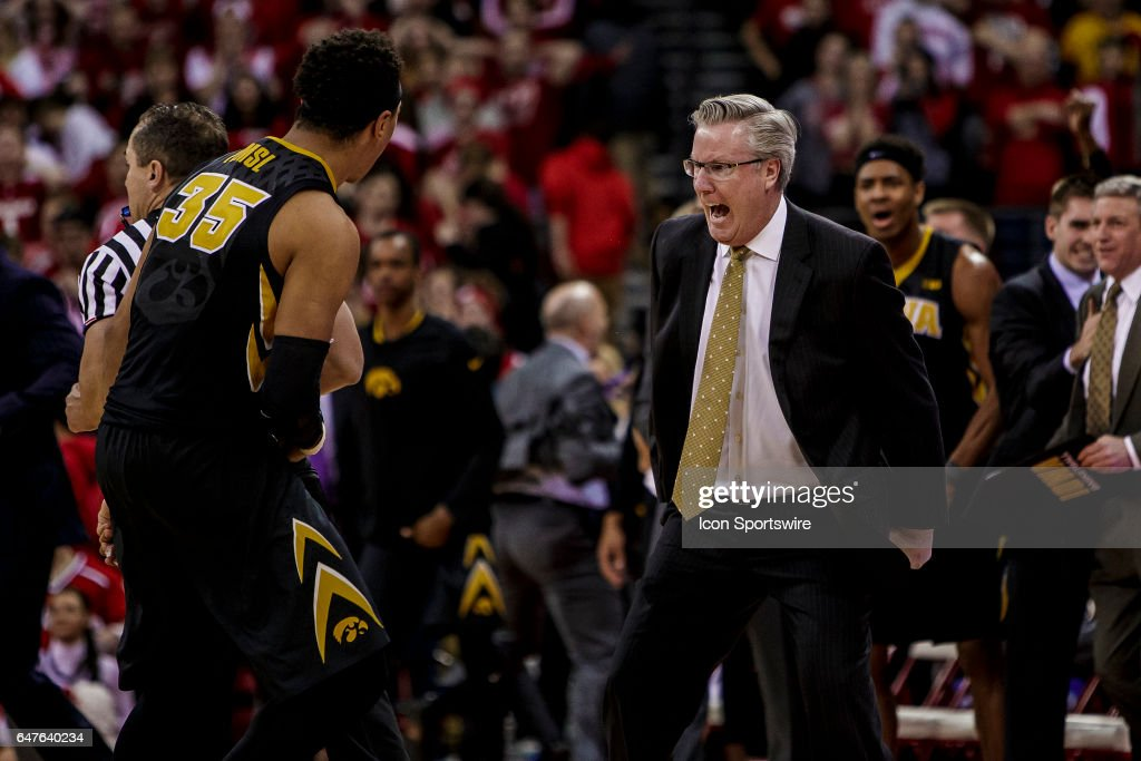 Iowa Hawkeyes head coach Fran McCaffery reacts after coming from behind in the closing stages of the second half with Iowa Hawkeyes forward Cordell Pemsl (35) during an college basketball game between the Iowa Hawkeyes and the Wisconsin Badgers at the Kohl Center in Madison, WI on March 02, 2017. The Iowa Hawkeyes defeat the Iowa Hawkeyes in a thriller 59-57.