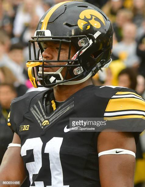 Iowa Hawkeyes' running back Ivory KellyMartin warms up before a Big Ten Conference football game between the Illinois Fighting Illini and the Iowa...