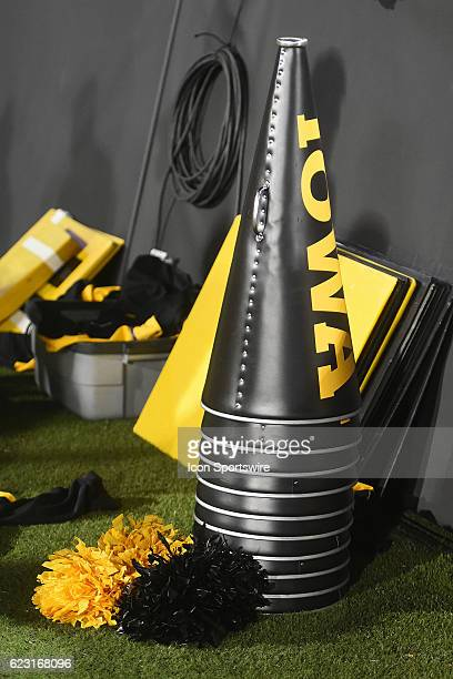 Iowa megaphones are stacked and ready to use before a Big Ten Conference football game between the Michigan Wolverines and the Iowa Hawkeyes on...