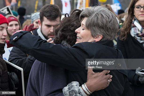 Iowa Senator Joni Ernst greets a supporter at a rally preceding the 'March for Life' Tens of thousands of ProLife supporters rallied in Washington DC...