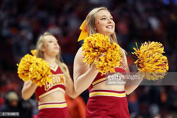 Iowa State Cyclones cheerleaders perform in the first half against the Virginia Cavaliers during the 2016 NCAA Men's Basketball Tournament Midwest...