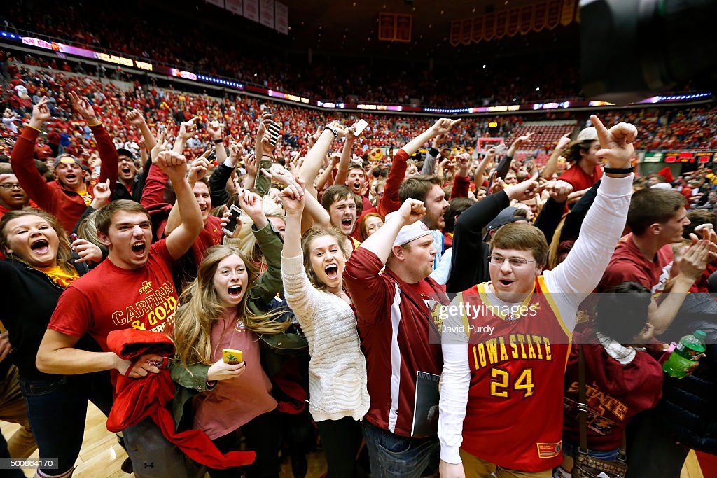 Iowa State Cyclones fans celebrate their teams win 8382 over the Iowa Hawkeyes at Hilton Coliseum on December 10 2015 in Ames Iowa Iowa State...