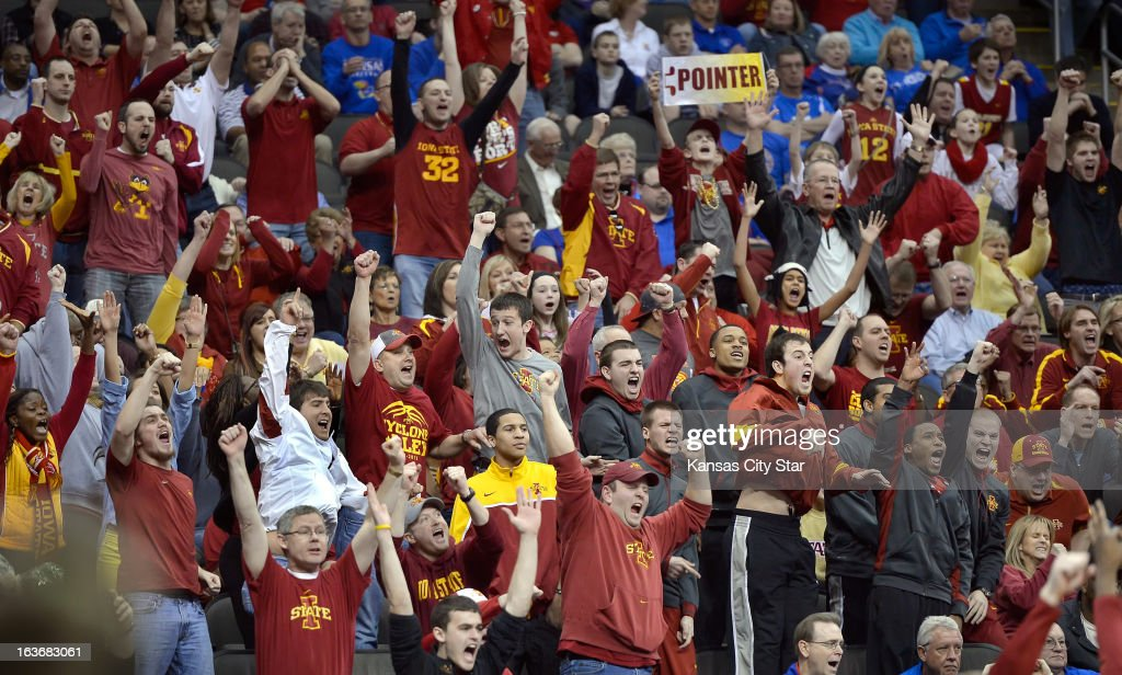 Iowa State Cyclones fans erupt with cheers as their team tied the score in the second half against the Oklahoma Sooners during the Big 12 Men's Basketball Tournament on Thursday, March 14, 2013 at the Sprint Center in Kansas City, Missouri. Iowa State beat Oklahoma 73-66.