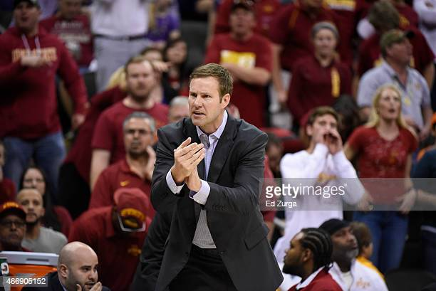 Iowa State Cyclones head coach Fred Hoiberg reacts during a game against the Texas Longhorns during the quarterfinal round of the Big 12 basketball...