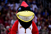 Iowa State Cyclones mascot Cy the Cardinal performs in the first half against the Kansas Jayhawks during the championship game of the Big 12...