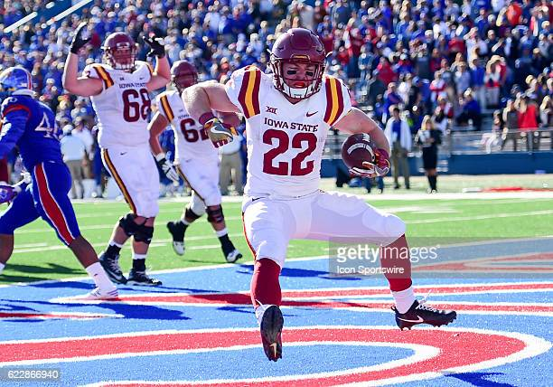 Iowa State Cyclones running back Mitchell Harger celebrates a touchdown during the second half of an NCAA football game between the Iowa State...