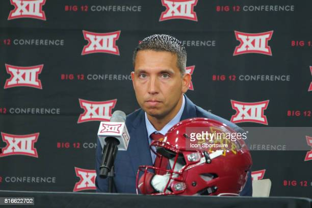 Iowa State head coach Matt Campbell takes questions during the Big 12 Conference Football Media Days on July 17 2017 at Ford Center at The Star in...