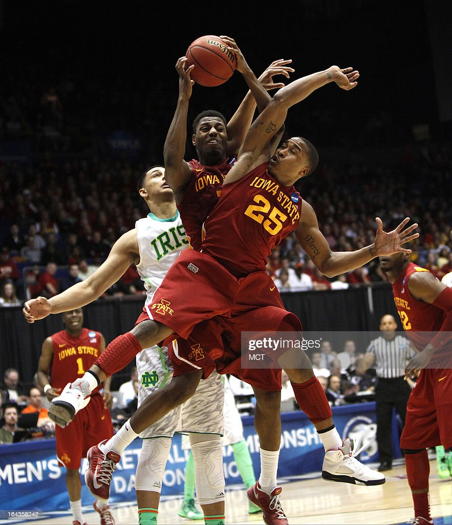 Iowa State's Melvin Ejim and Tyrus McGee (25) go up for a rebound against Notre Dame's Zach Auguste during the second half during the second round of the NCAA Tournament at the University of Dayton Arena, in Dayton, Ohio, on Friday, March 22, 2013. Iowa State rolled, 76-58.