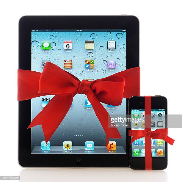 iPad and iPhone with red ribbon
