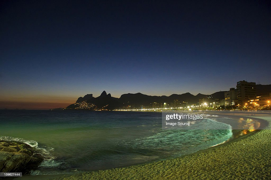 Ipanema beach at night, Rio de Janeiro, Brazil : Stock Photo