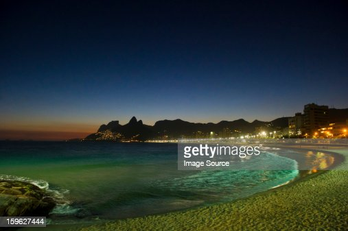 Ipanema beach at night, Rio de Janeiro, Brazil : Stock Photo