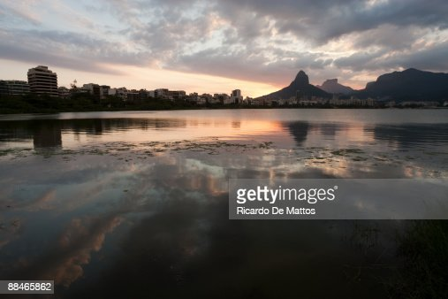 Ipanema Buildings at Sunset Reflecting on Lagoon : Stock Photo