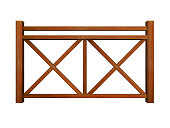 Ipe design wood railing 3d render