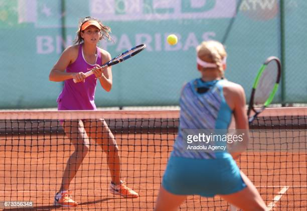 Ipek Soylu of Turkey in action against Nadia Kichenok of Ukraine during the TEB BNP Paribas Istanbul Cup women's couple tennis match between Ipek...