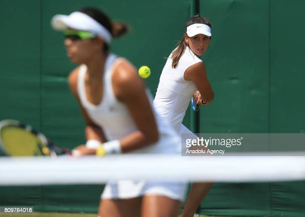 Ipek Soylu of Turkey in action with her partner Varatchaya of Thailand in action against Mandy Minella of Luxembourg and Anastasija Sevastova of...
