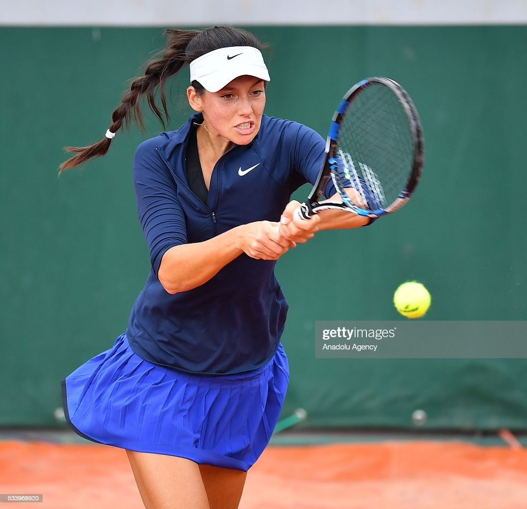 Ipek Soylu (C) of Turkey in an action during women's single first round match against Virginie Razzano of France at the French Open tennis tournament at Roland Garros in Paris, France on May 24, 2016.