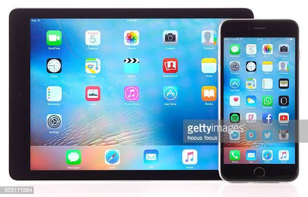 iPhone 6 Plus et iPad Air sur un fond blanc