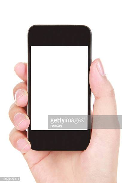 IPhone smartphone in a hand with a white screen