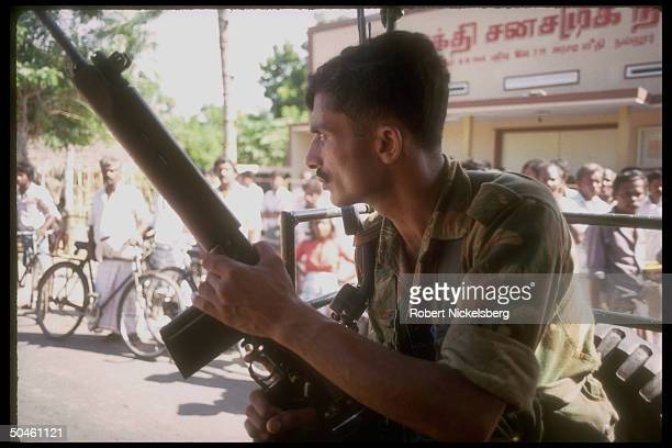 Indian Peacekeeping Forcessoldier on patrol prob in Jaffna
