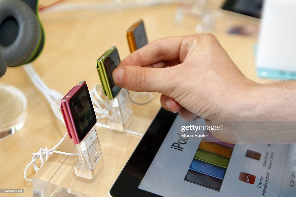 iPod Nano's are displayed during the opening of Apple's new Barcelona store in Passeig de Gracia on July 28, 2012 in Barcelona, Spain.