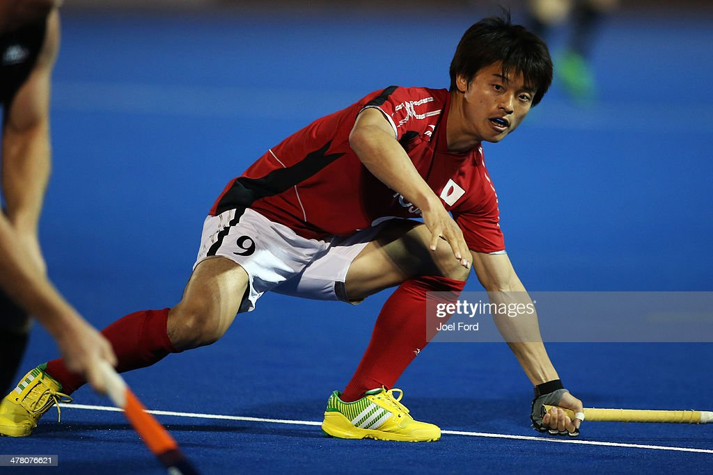 Ippei Fujimoto of Japan tries to block a pass during the Test Match between the New Zealand Black Sticks and Japan at Blake Park on March 12, 2014 in Mount Maunganui, New Zealand.