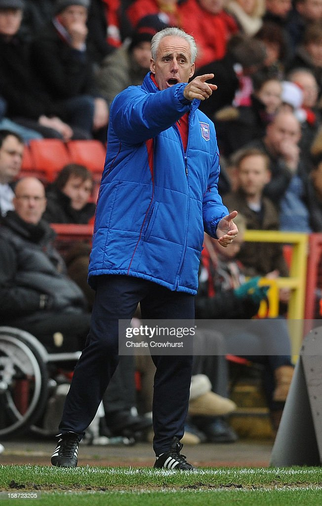 Ipswich manager <a gi-track='captionPersonalityLinkClicked' href=/galleries/search?phrase=Mick+McCarthy&family=editorial&specificpeople=226594 ng-click='$event.stopPropagation()'>Mick McCarthy</a> pounts during the npower Championship match between Charlton Athletic and Ipswich Town at The Vally on December 26, 2012 in London, England.