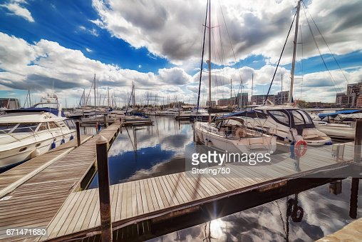 Ipswich Marina waterfront on a vibrant spring day : Stock Photo