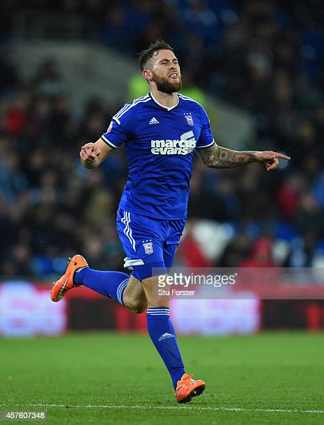 Ipswich player Daryl Murphy celebrates after opening the scoring during the Sky Bet Championship match between Cardiff City and Ipswich Town at...