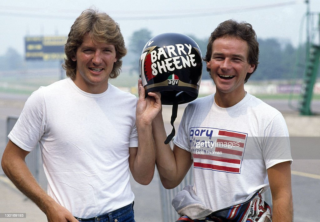 Ipswich Town footballer Russell Osman (left) meets British motorcycle ace <a gi-track='captionPersonalityLinkClicked' href=/galleries/search?phrase=Barry+Sheene&family=editorial&specificpeople=600476 ng-click='$event.stopPropagation()'>Barry Sheene</a> at Donington Park on 8th July 1983.