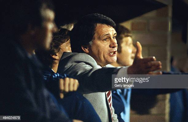 Ipswich Town manager Bobby Robson makes a point during a game at Portman Road circa 1980 in Ipswich England