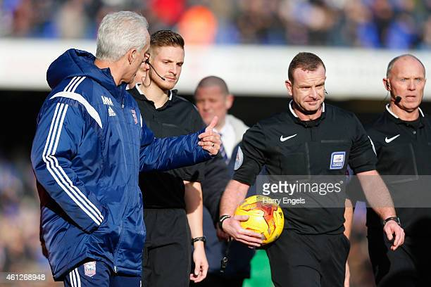 Ipswich Town manager Mick McCarthy has words with referee Kevin Wright at half time during the Sky Bet Championship match between Ipswich Town and...