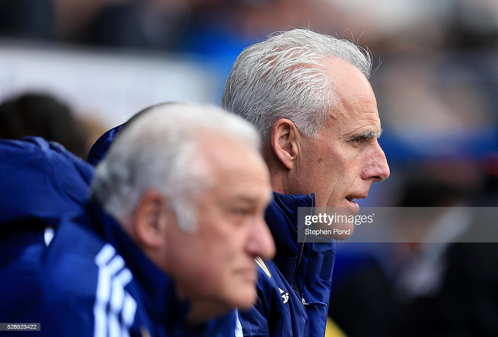 Ipswich Town Manager Mick McCarthy looks on during the Sky Bet Championship match between Ipswich Town and Milton Keynes Dons at Portman Road on April 30, 2016 in Ipswich, England.