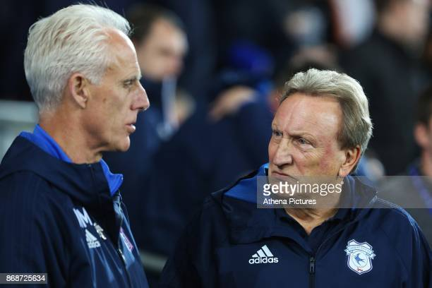 Ipswich Town manager Mick McCarthy talks with Cardiff City manager Neil Warnock prior to kick off of the Sky Bet Championship match between Cardiff...