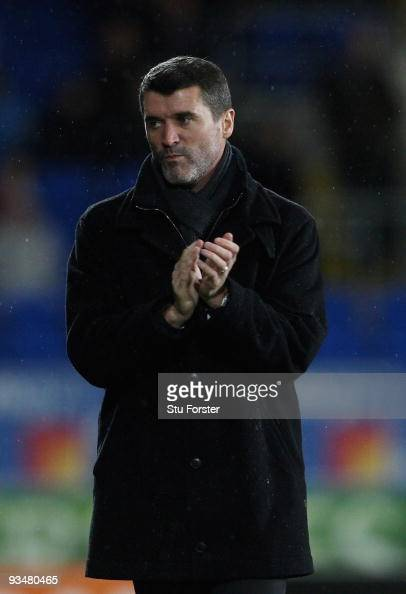 Ipswich Town manager Roy Keane applauds the winning 21 goal by his team during the CocaCola Championship game between Cardiff City and Ipswich Town...