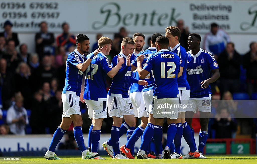 Ipswich Town players celebrate their opening goal during the Sky Bet Championship match between Ipswich Town and Milton Keynes Dons at Portman Road on April 30, 2016 in Ipswich, England.