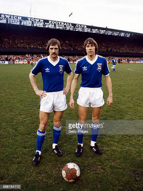 Ipswich Town's Dutch International players Frans Thijssen and Arnold Muhren pose during the warm up before the UEFA Cup Final first leg between...