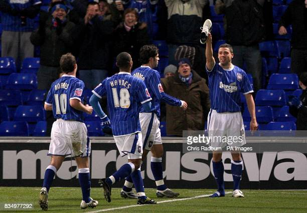 Ipswich Town's Jonathan Walters celebrates scoring his sides opening goal from the penalty spot