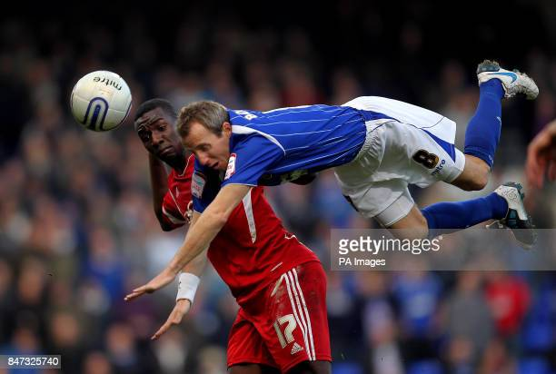 Ipswich Town's Lee Bowyer and Bristol City's Yannick Bolasie battle for the ball during the npower Football League Championship match at Portman Road...